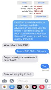 Text conversation about investing tax return