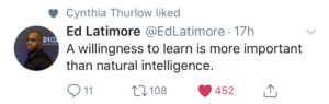 Ed Latimore Tweet About Learning
